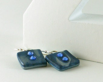 Polymer clay earrings - silver color on blue with Swarovski crystals (BC-S-2C-2)