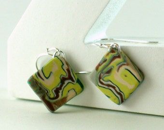 Polymer clay earrings - brown, blue, white, and pale green swirl (GPm-D-P-1)