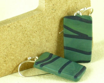 Polymer clay earrings - green and blue (GB-R-P-3)