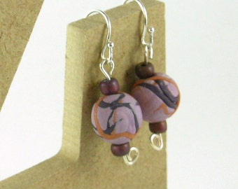 Polymer clay bead earrings - mauve, purple and copper clay (MP-RB-1)