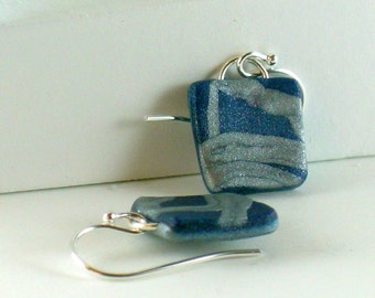 Polymer clay earrings - silver color on blue (BS-S-P-1)