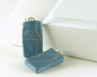 Polymer clay earrings - pale blue with silver (BS-R-P-5)