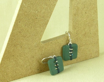 Polymer clay earrings - green and blue (GB-S-WB3-2)