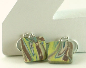 Polymer clay earrings - brown, blue, white, and yellow-green swirl (GPm-S-P-3)
