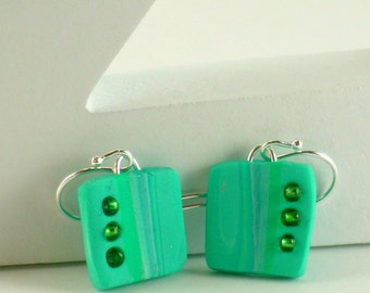 Polymer clay earrings - teal and white (TW-S-3B-1)