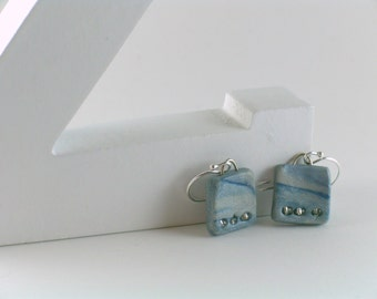 Polymer clay earrings - navy and silvery blue (SB-S-3B-1)
