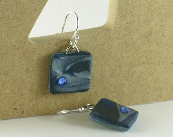 Polymer clay earrings - silver color on blue with Swarovski crystals (BC-S-C1-2)