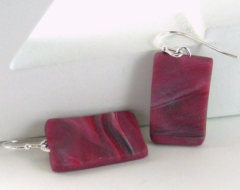 Polymer clay earrings - red, black, silver, and white (RBkW-R-P-7)