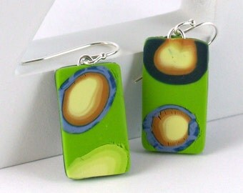 Polymer clay earrings - lime green, periwinkle, navy, orange, and yellow (GB-R-P-6)