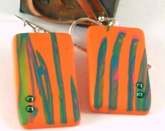 Polymer clay earrings - orange, teal, pink, and green (OT-R-B2-1)