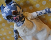 Recycled Fabric Stuffed Animal with Vintage Linen and Lace Dress
