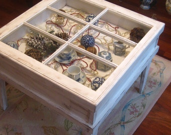 Shadow Box Table, Window Table, Reclaimed Window Table, Shabby Chic Window Table