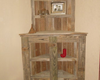 Reclaimed Wood  Bookcase,  Barnwod furniiture,  Reclaimed wood corner shelf, Rustic Bookcase, barnwood Corner Bookcase