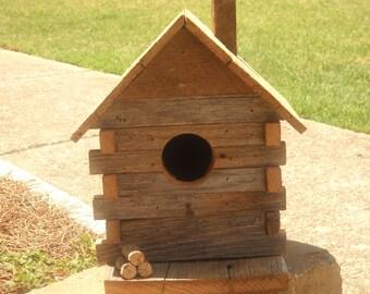Rustic Birdhouse, Reclaimed barnwood Birdhouse,Log Cabin Birdhouse