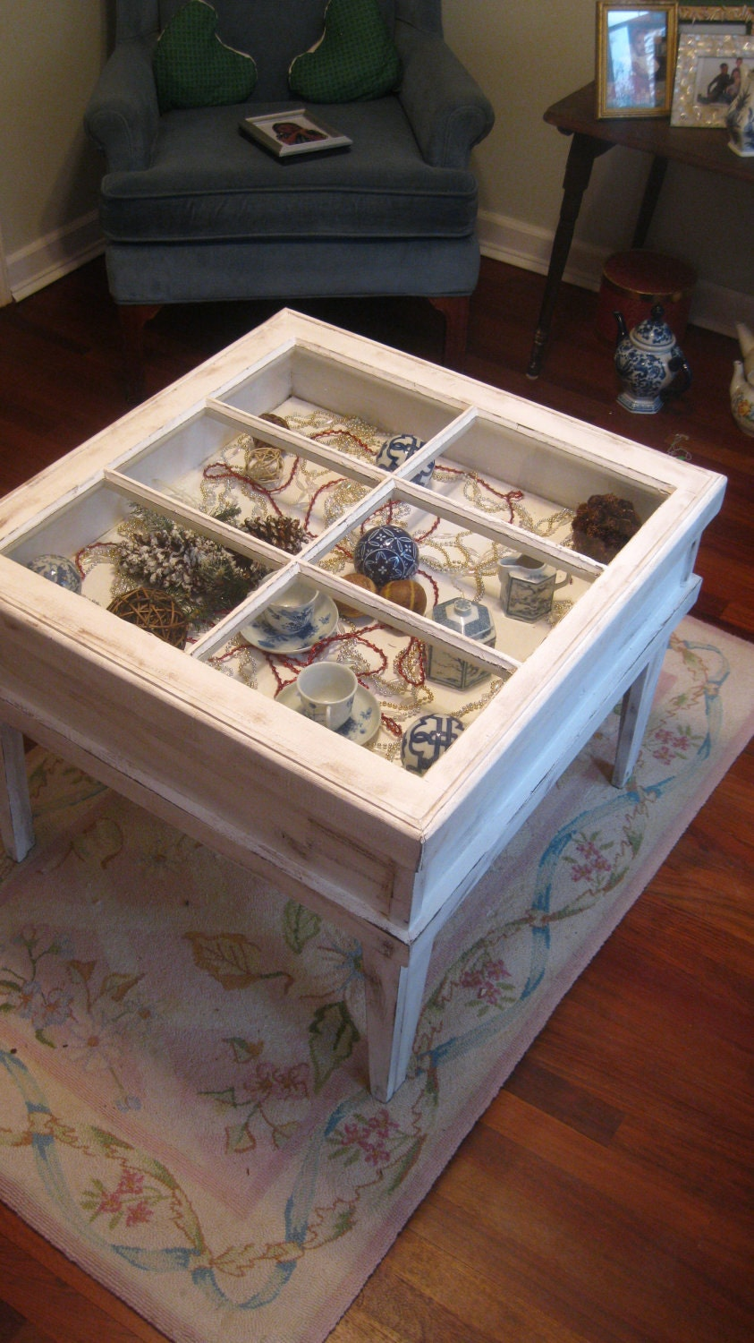 Shadow box table window table reclaimed window table shabby for Muebles reciclados