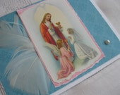 Catholic First Holy Communion Eucharist Handmade Card Girl Blue and White
