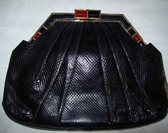Vintage Judith Leiber Clutch Purse - Snake Skin - Stones