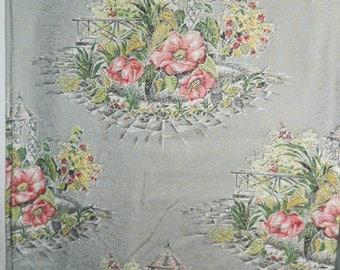 1940's Barkcloth - Gold Flex with Garden and Pagoda - Min Order: 2 yds