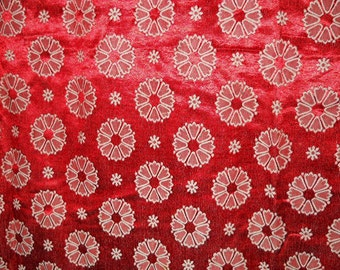 1950's Red Damask Floral Curtain - 1 Panel