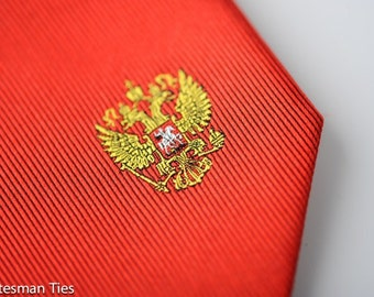 Russia Tie - Russian Crest with Personalized Tag Optional. Soviet Union. Russian Tie
