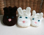 Bunny Slippers - Crochet Bunny Slippers Sizes Kids Youth 12.5 - 7