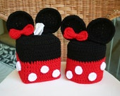 CROCHET PATTERN Minnie Mouse Tissue Box & TP Roll Cover Set