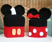 SALE Mickey and Minnie Mouse Tissue Box & Toilet Paper Covers Set