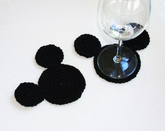 Crochet Mickey Mouse Ears Coasters Set - Disney Inspired Home Decor