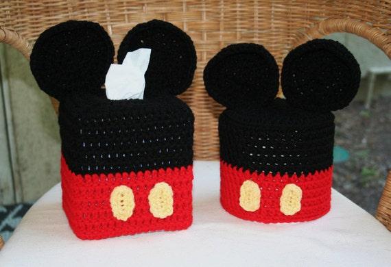 Items similar to mickey mouse crochet tissue box tp roll - Disney mickey mouse bathroom decor ...