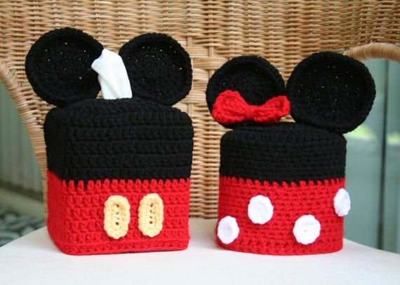 Mickey and Minnie Mouse Tissue Box & Toilet Paper Covers Set