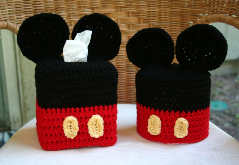 Disney Mickey Mouse Crochet Pattern Set Tissue Box And