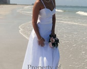 End of Season Sale 50 % off  Satin beach wedding dress spaghetti strap fitted midriff jeweled back Aline