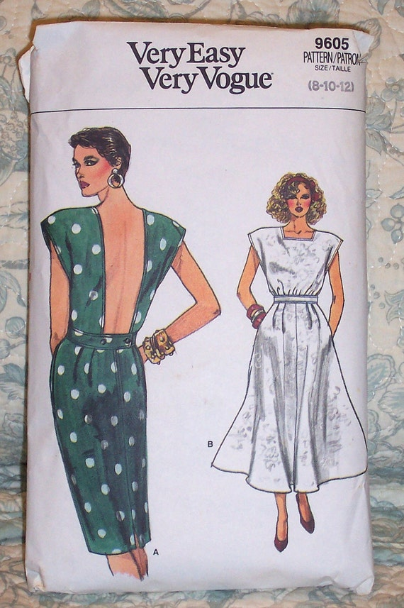 Vintage Sewing Pattern - 1980s - Vogue 9605 - Misses Sizes 8-10-12 - Dress - Low Back - Straight Skirt - Flared Skirt