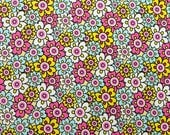Canvas Artwork/ 11x14/ Fun Funky Decor/ Bright Flower Fabric/ Colorful Art/ Pink Blue Yellow/ Girl Bedroom Furnishings