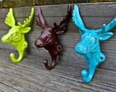 """Set of 3 Bright """"Moose Head"""" cast iron Wall Hook: Lime Green, Brown, Turquoise / Shabby Chic/ Lodge, Cabin Decor/ Key Hanger, Coat Rack, Tow"""