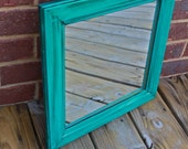 Teal Blue Mirror /Dark Walnut Stain Accent / Distressed /Shabby Chic / Upcycled