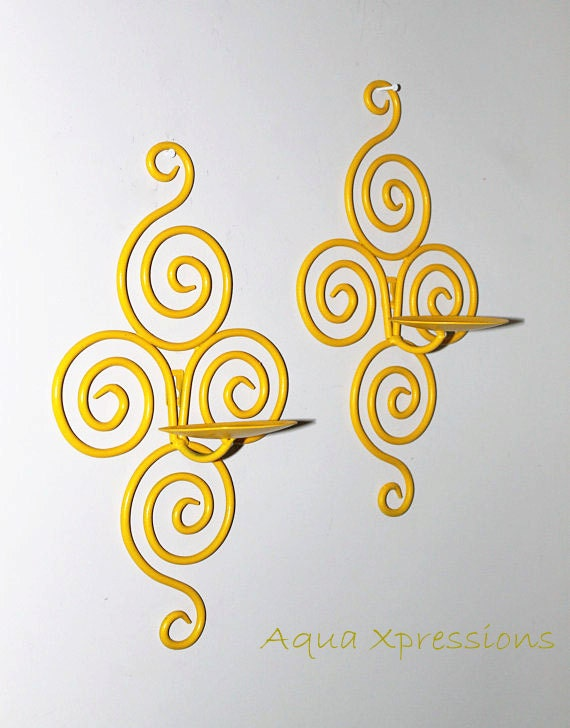 Candle Wall Sconce /Bright Yellow /Fun & Funky by AquaXpressions