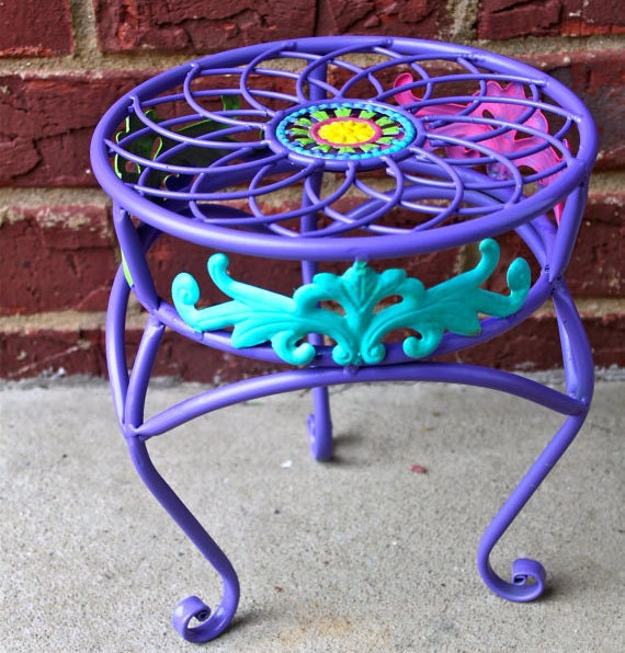 Purple Plant Stand Colorful Accent Patio by AquaXpressions