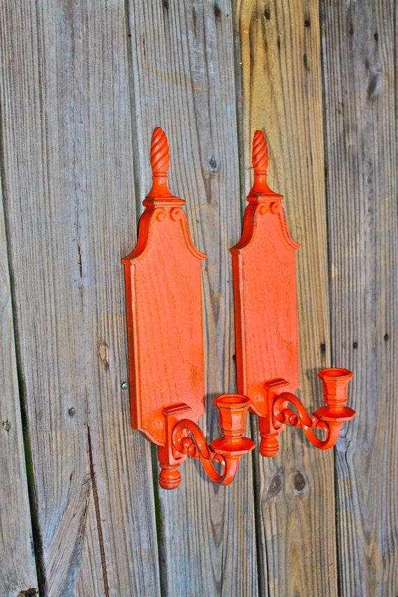 Bright Coloured Wall Lights : Candle Wall Sconce /Orange Decor /Bright by AquaXpressions
