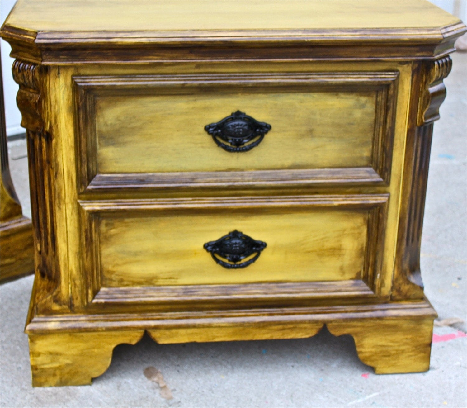 Yellow Vintage Nightstand Distressed Bedroom By