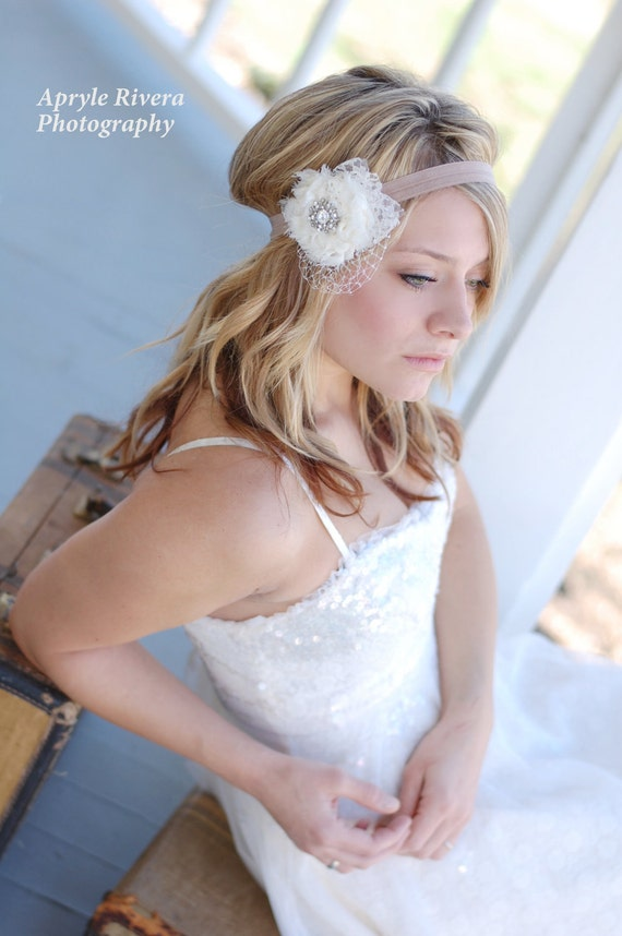 "Bridesmaid Hair Accessory-Wedding Accessory-Flower Girl-New Born headband- Boho Chic Headband- The ""Windowsill Splendor"" Headband"