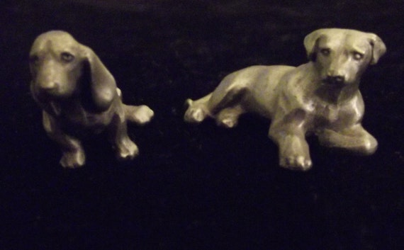 Rawcliffe Pewter Set of Dogs Vintage 1982 Signed