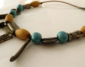 BEADED NECKLACE SALE % Native handcrafted blue and woodlike ceramic beads, silver - plated beads and pendants on leather Necklace