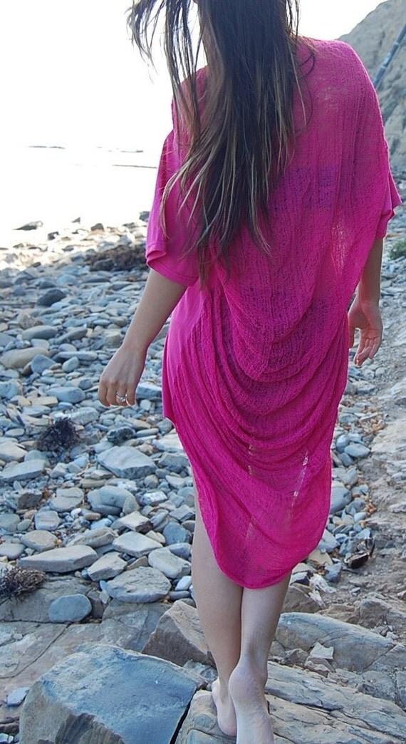 Shredded Pink Shirt - Tunic - Dress