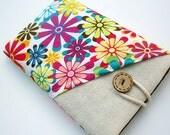 Floral Kindle Sleeve Pocket , Kindle fire sleeve cover, Nook cover, Google Nexus 7 case