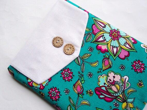 Ipad Sleeve Padded  Ipad Case Flap Tablet Sleeve Floral Pine Green