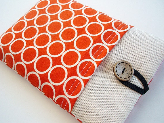 Orange Kindle Sleeve Pocket , Kindle fire sleeve cover, nook cover, ereader sleeve google nexus 7 case