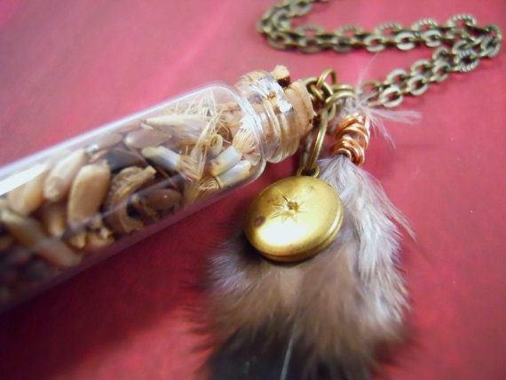 Post-Apocalyptic Necklace - Seeds For Survival - Glass Vial Necklace with feathers and vintage locket