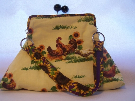 Chicken Bag/ Purse/Clutch Animal cotton Print Fabric