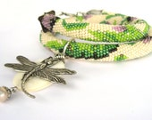 "Bead Crochet Necklace  ""Victorian garden""   - Free shipping - rusteam - TT team"